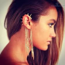 earrings for pierced ears ear piercing with spike chain earring jewelry