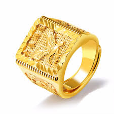 golden rings images images Pure gold color engraved eagle men 39 s ring hip hop jewelry cool big jpg