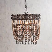 wood bead ceiling light keslie gray wooden bead pendant light pier 1 imports