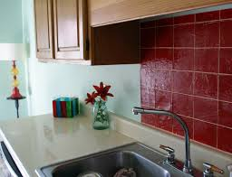 Red Kitchen Backsplash Tiles Faux Tile Kitchen Backsplash