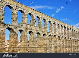 wellknown antique aqueduct ancient segovia fine stock photo