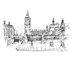 black and white ink sketch drawing of famous place in london big