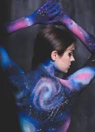 galaxy body paint by jillian elizabeth free hand using kryolan