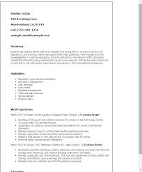 Example Summary For Resume Of Entry Level by Professional Customs Broker Templates To Showcase Your Talent