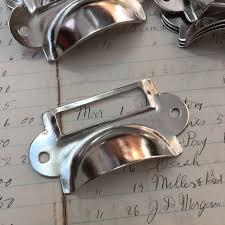 drawer label holders silver vintage style drawer pull tag holder