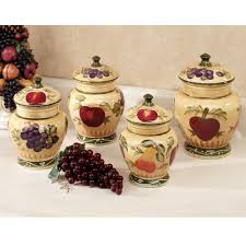 ideas interesting kitchen canisters for kitchen accessories ideas ceramic kitchen canisters with fruits theme for kitchen accessories ideas