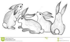 sitting rabbits group sketch stock image image 13179771