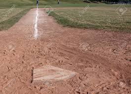 Home Plate by A View Down The Left Field Line Of A Baseball Field Shot From