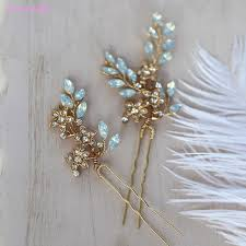 bridal hair pins jonnafe pretty opal cystal bridal hair pins gold flower wedding