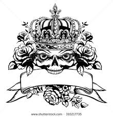 tattoo skull crown roses stock vector 310217735 shutterstock