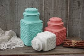 mint green and coral kitchen canister set from the vintage full size full size