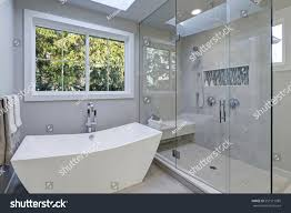 walk in shower with tub glass walkin shower gray subway tiled stock photo 557517085