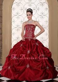 Red Wedding Dresses Red Embroidery Taffeta Pick Ups Elegant Wedding Dress