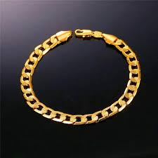 bracelet chain gold man images Brand bracelet men hand chain gold color jewelry trendy 21cm 7mm jpg