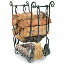 decorating rustic log framed firewood holder with contemporary