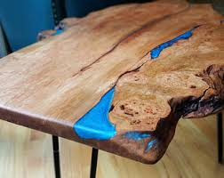 live edge table with turquoise inlay live edge coffee table with resin and seashell inlay live