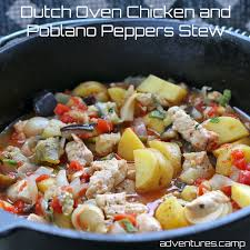 oven chicken and poblano peppers stew