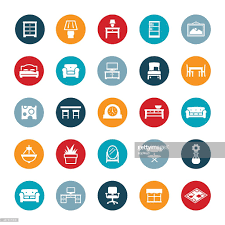 home furniture and decor icons vector art getty images