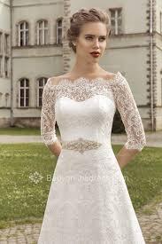 lace 3 4 sleeve wedding dress 3 4 sleeve scalloped edge lace wedding dresses 2018 sash ribbons