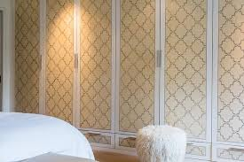 Quatrefoil Room Divider Wardrobe Closet Doors With Yellow And Gray Quatrefoil Wallpaper