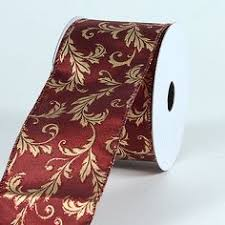 wired ribbon wholesale 4 x 5yds velvet embroidery wired ribbon gold burgundy