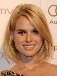 medium length hair in blonde color with best haircuts for round faces
