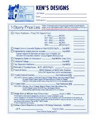price plan design price lists kens designs