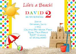 Sample Of Birthday Invitation Card For Kids Beach Birthday Party Invitations Birthday Card Invitations