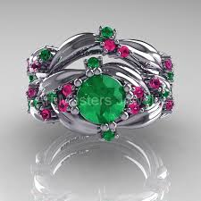 emerald amethyst rings images Nature classic 14k white gold 1 0 ct emerald pink sapphire leaf jpg