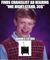 Meme Generator Bad Luck Brian - bad luck brian finds craigslist ad reading one night stand 30
