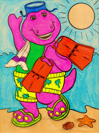 barney likes to swim at the beach by bestbarneyfan on deviantart