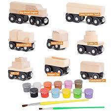 amazon com 8 unpainted train cars with 12 colors paint and paint