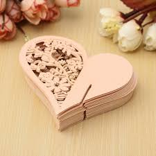 50pcs heart wedding name place cards wine glass laser cut