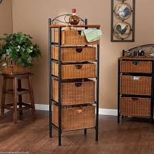 Bathroom Wicker Furniture Furniture For Bathroom Decoration Using Five Tier Black Metal