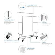 hanging picture height amazon com floureon collapsible adjustable double rail rolling