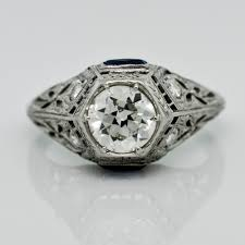 art deco diamond u0026 sapphire platinum ring claude morady estate