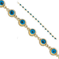 solid gold blue small drop evil eye bracelet