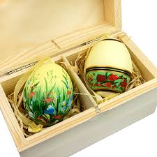 center boxed egg ornament set two painted duck