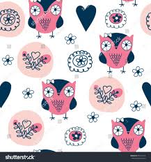 flower wrapping paper seamless pattern owl flower wrapping paper stock vector 655473106