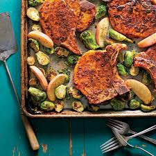 pork chops with roasted apples u0026 brussels sprouts recipe myrecipes