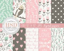 shabby chic digital paper pink mint brown rustic digital papers