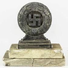original german wwii swastika and oak leaf wreath desk