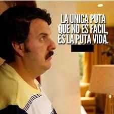Pablo Escobar Meme - la unica puta que no es facil es la puta vida frases pinterest
