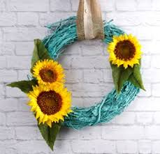 turquoise sunflower wreath craft ideas