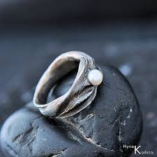 Steel Wedding Rings by Romantic Wedding Or Engagement Ring With Pearl Hand By Kredum