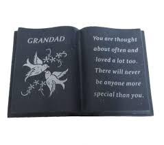 grandad black memorial book ornament doves garden memorial