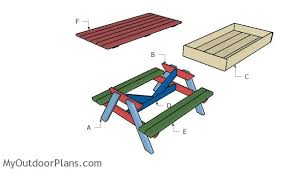Building A Wood Picnic Table by Sandbox Picnic Table Plans Myoutdoorplans Free Woodworking