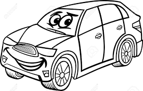 cartoon car black and white black and white cartoon illustration of funny suv or crossover