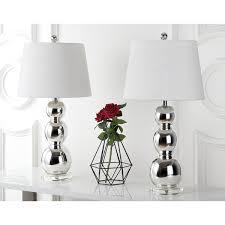Silver Nightstand Lamps Safavieh Lighting 26 5 Inch Jayne Three Sphere Glass Silver Table