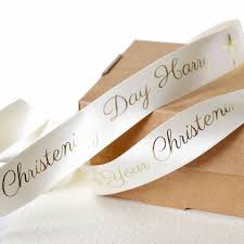 christening 25mm personalised printed ribbon by altered chic
